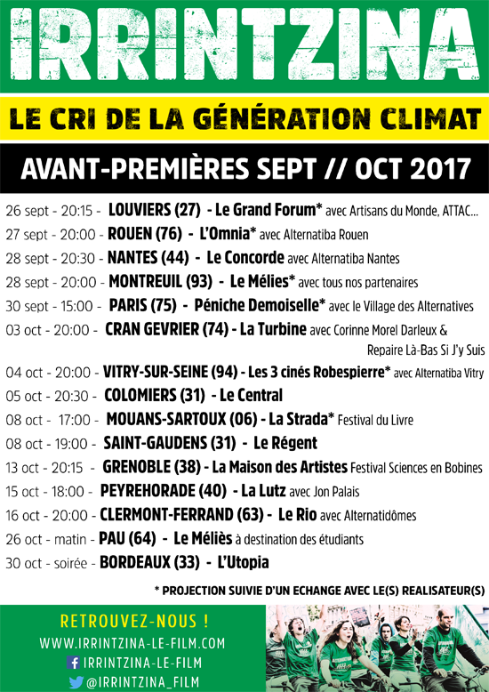 Calendrier des dates de projections